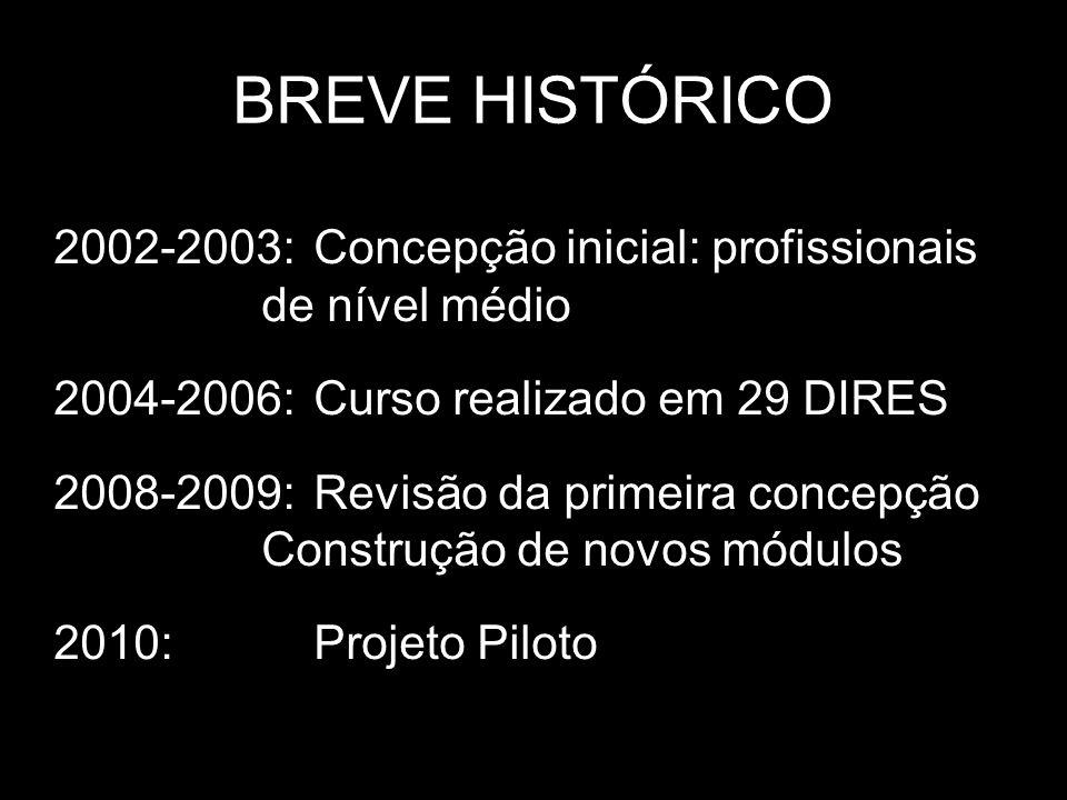 BREVE HISTÓRICO 2002-2003: Concepção inicial: profissionais de nível médio. 2004-2006: Curso realizado em 29 DIRES.