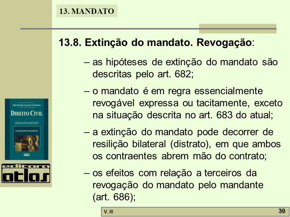 13.8. Extinção do mandato. Revogação: