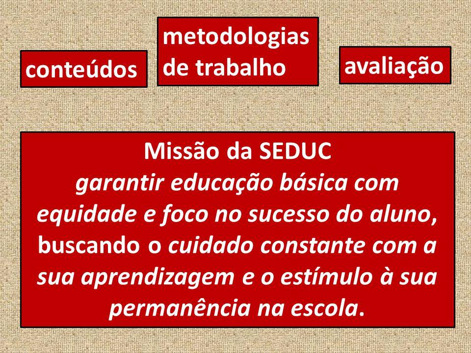 metodologias de trabalho. avaliação. conteúdos. Missão da SEDUC.