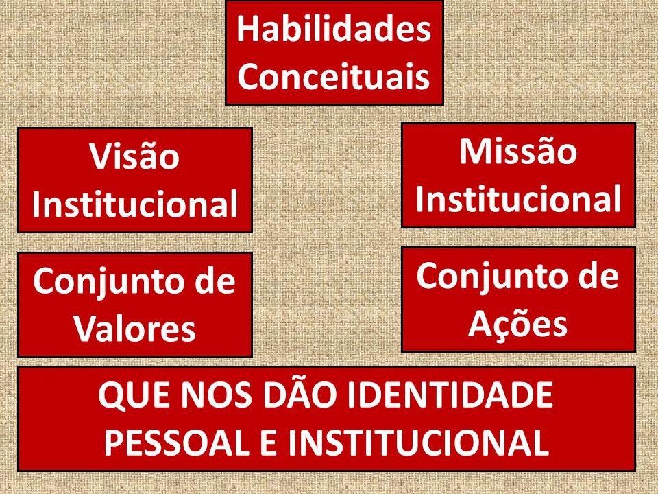 Habilidades Conceituais QUE NOS DÃO IDENTIDADE PESSOAL E INSTITUCIONAL