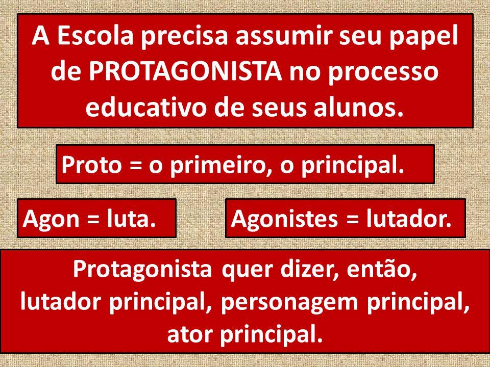 A Escola precisa assumir seu papel de PROTAGONISTA no processo educativo de seus alunos.
