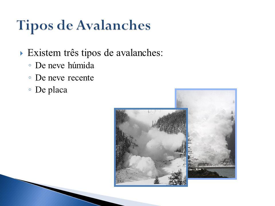 Tipos de Avalanches Existem três tipos de avalanches: De neve húmida