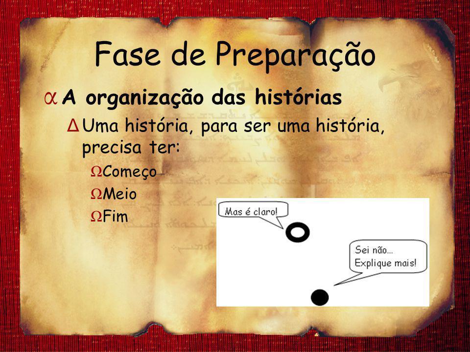 Fase de Preparação A organização das histórias