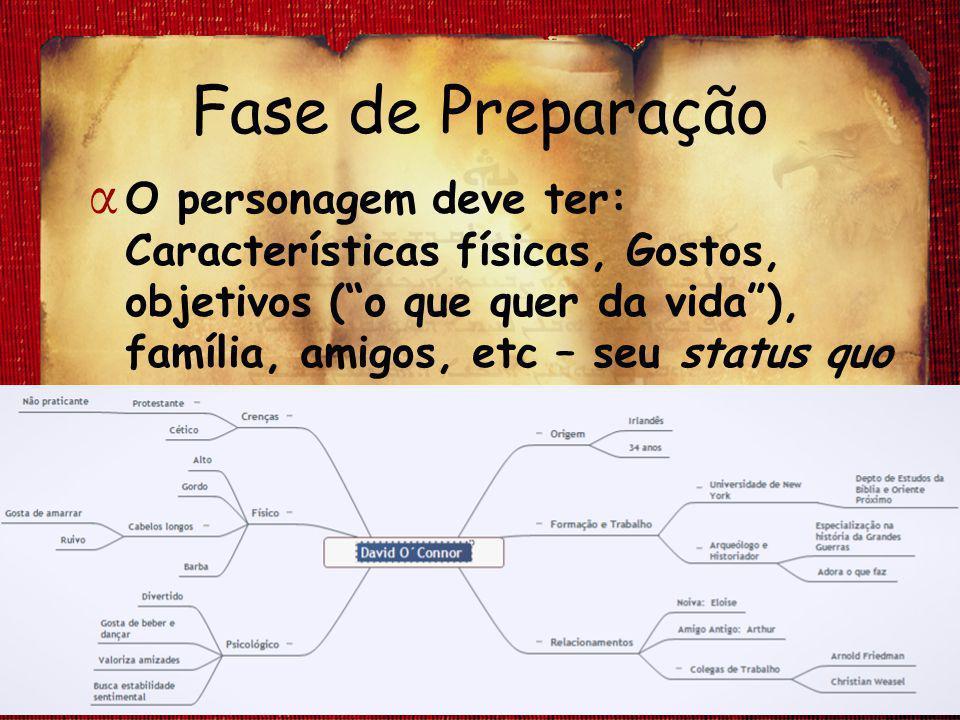 Fase de Preparação O personagem deve ter: Características físicas, Gostos, objetivos ( o que quer da vida ), família, amigos, etc – seu status quo.