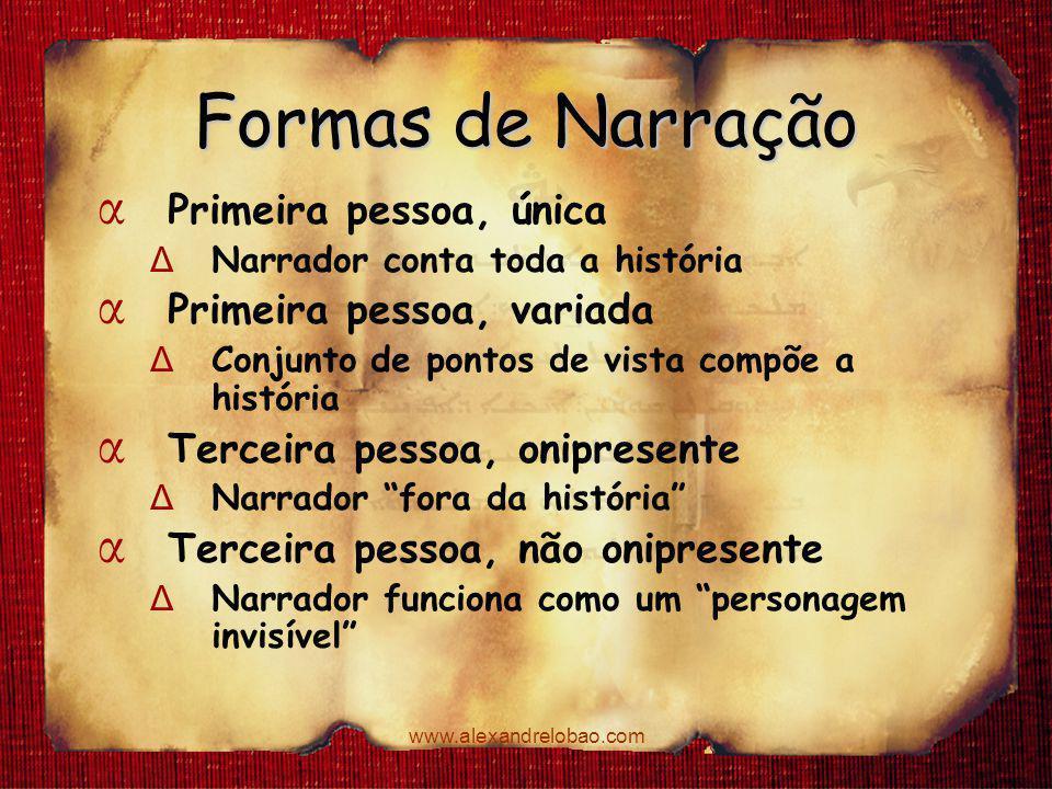 Formas de Narração Primeira pessoa, única Primeira pessoa, variada