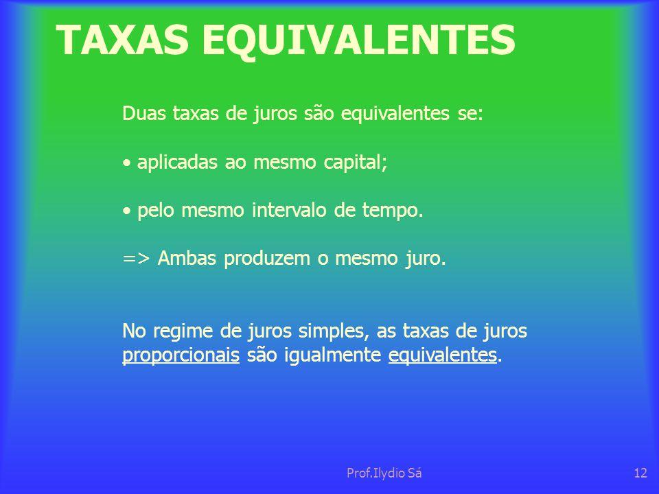 TAXAS EQUIVALENTES Duas taxas de juros são equivalentes se:
