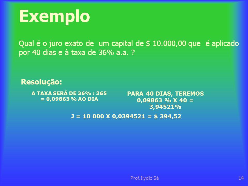 A TAXA SERÁ DE 36% : 365 = 0,09863 % AO DIA