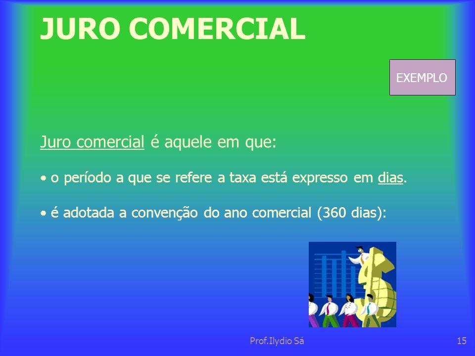 JURO COMERCIAL Juro comercial é aquele em que: