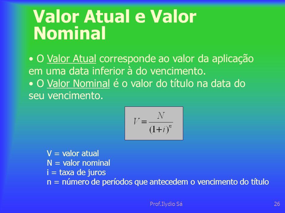 Valor Atual e Valor Nominal