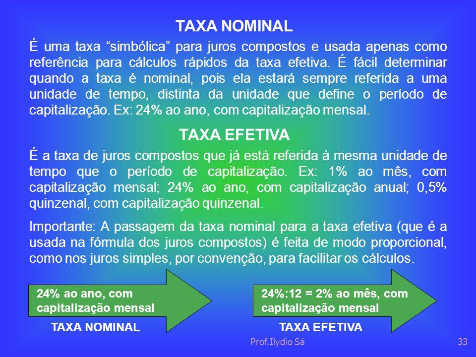 TAXA NOMINAL TAXA EFETIVA