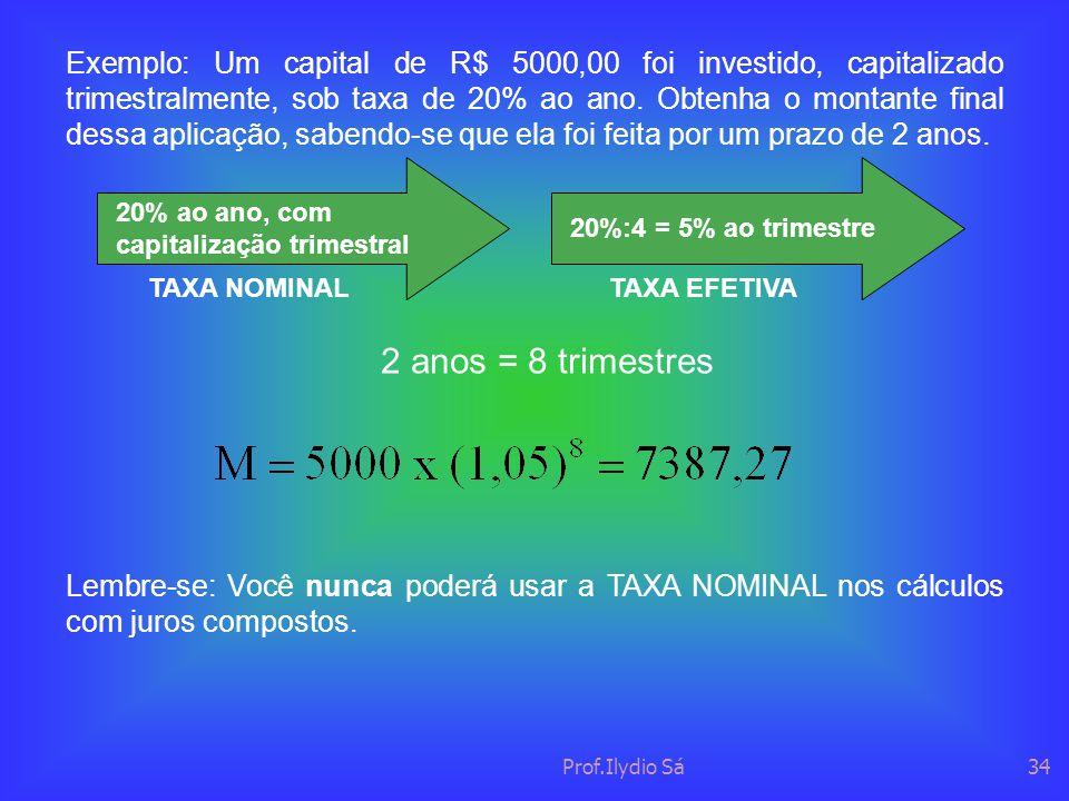 Exemplo: Um capital de R$ 5000,00 foi investido, capitalizado trimestralmente, sob taxa de 20% ao ano. Obtenha o montante final dessa aplicação, sabendo-se que ela foi feita por um prazo de 2 anos.