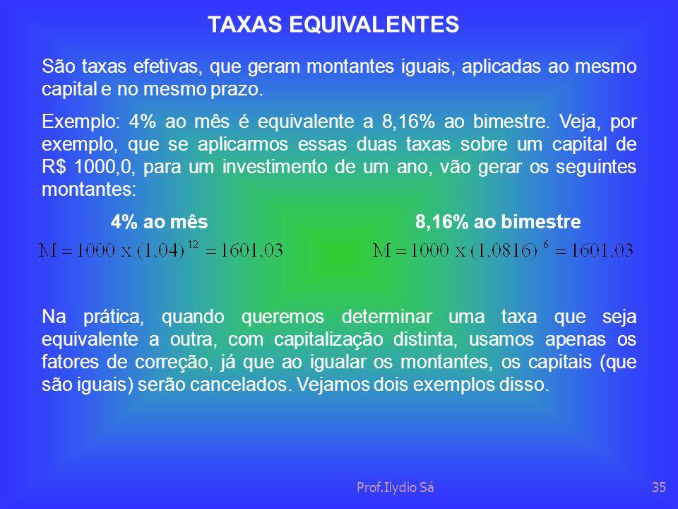 TAXAS EQUIVALENTES São taxas efetivas, que geram montantes iguais, aplicadas ao mesmo capital e no mesmo prazo.
