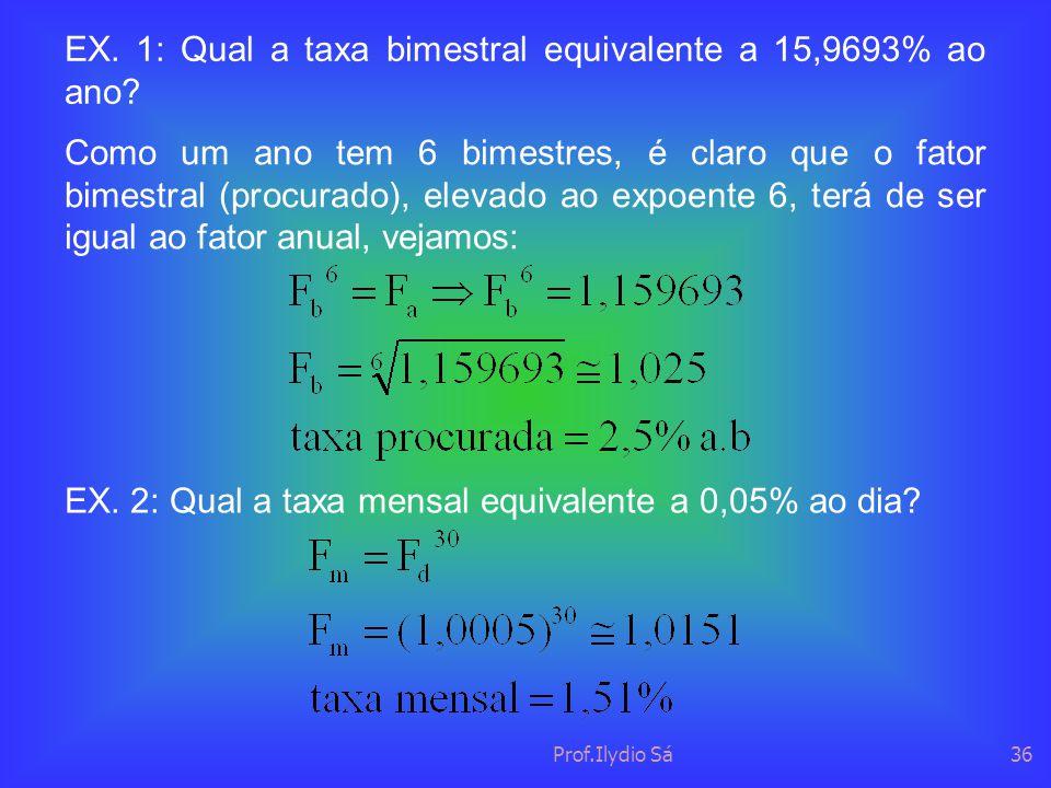 EX. 1: Qual a taxa bimestral equivalente a 15,9693% ao ano