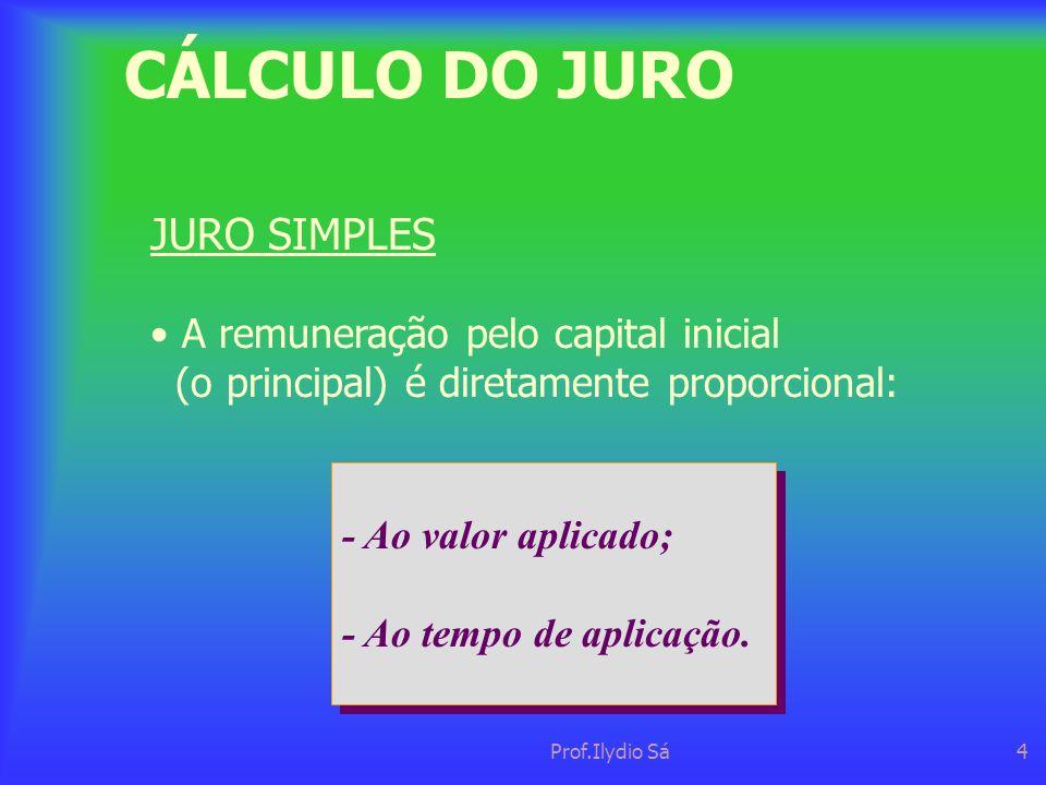 CÁLCULO DO JURO JURO SIMPLES • A remuneração pelo capital inicial