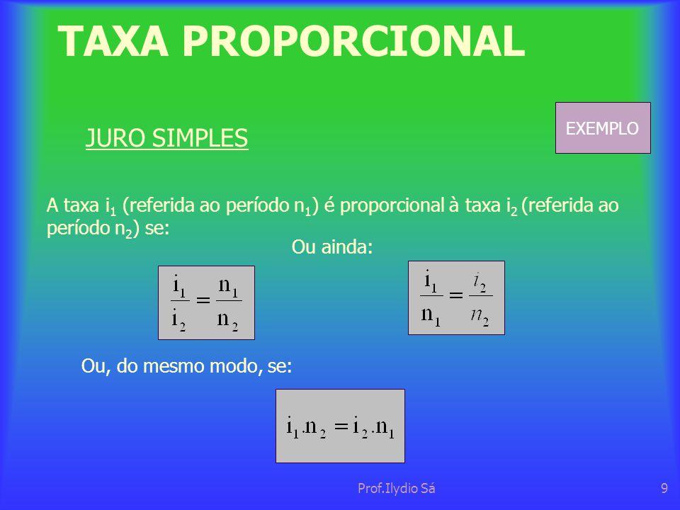 TAXA PROPORCIONAL JURO SIMPLES