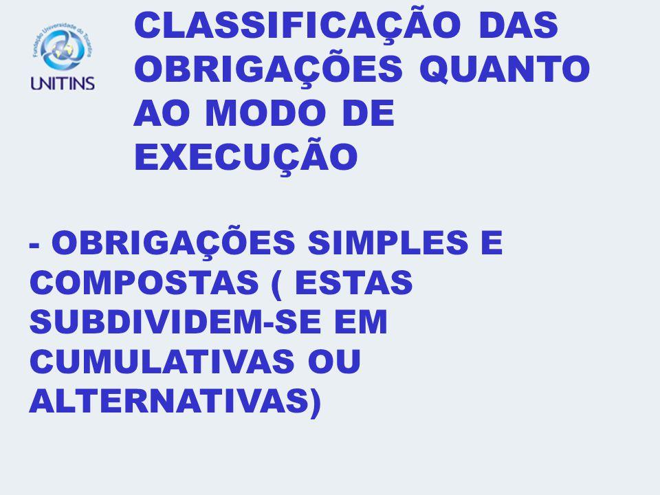 - CLASSIFICAÇÃO DAS OBRIGAÇÕES QUANTO AO MODO DE EXECUÇÃO