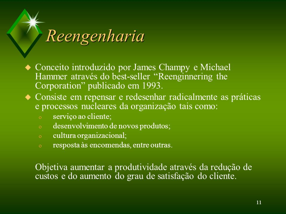 Reengenharia Conceito introduzido por James Champy e Michael Hammer através do best-seller Reenginnering the Corporation publicado em 1993.