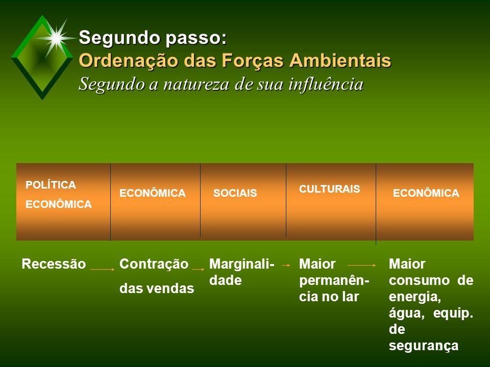 Segundo passo: Ordenação das Forças Ambientais Segundo a natureza de sua influência