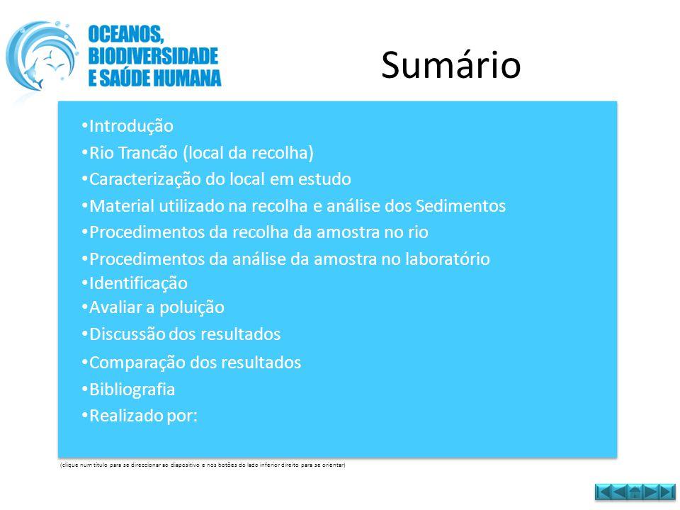 Sumário Introdução Rio Trancão (local da recolha)