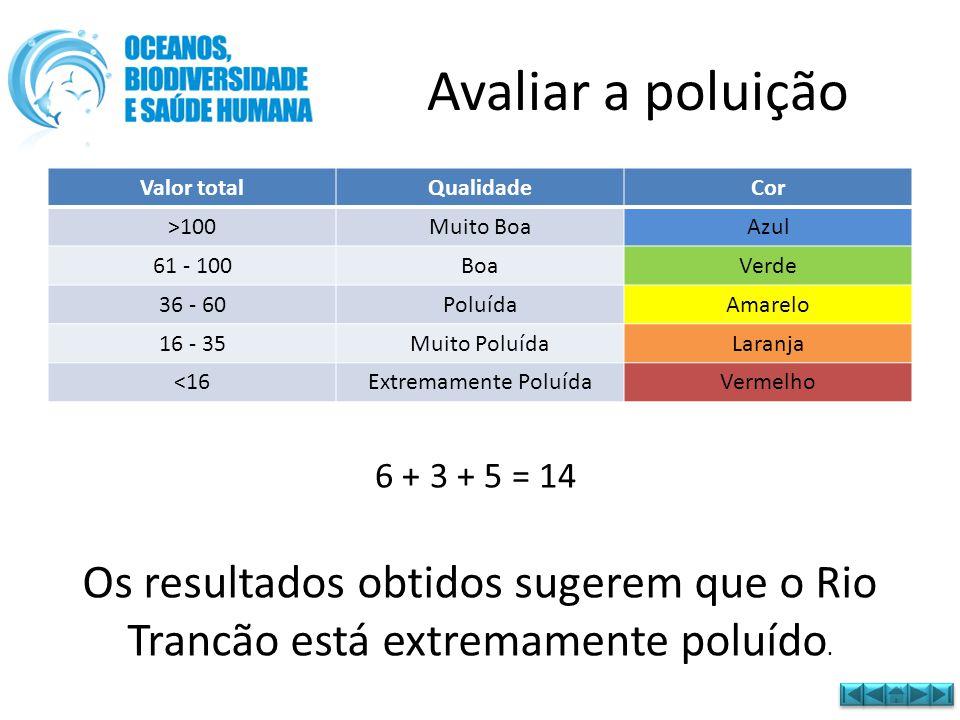 Avaliar a poluição Valor total. Qualidade. Cor. >100. Muito Boa. Azul. 61 - 100. Boa. Verde.