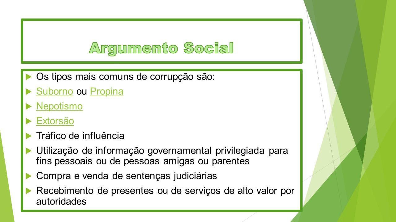 Argumento Social Os tipos mais comuns de corrupção são: