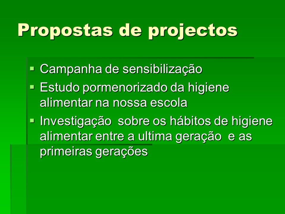 Propostas de projectos