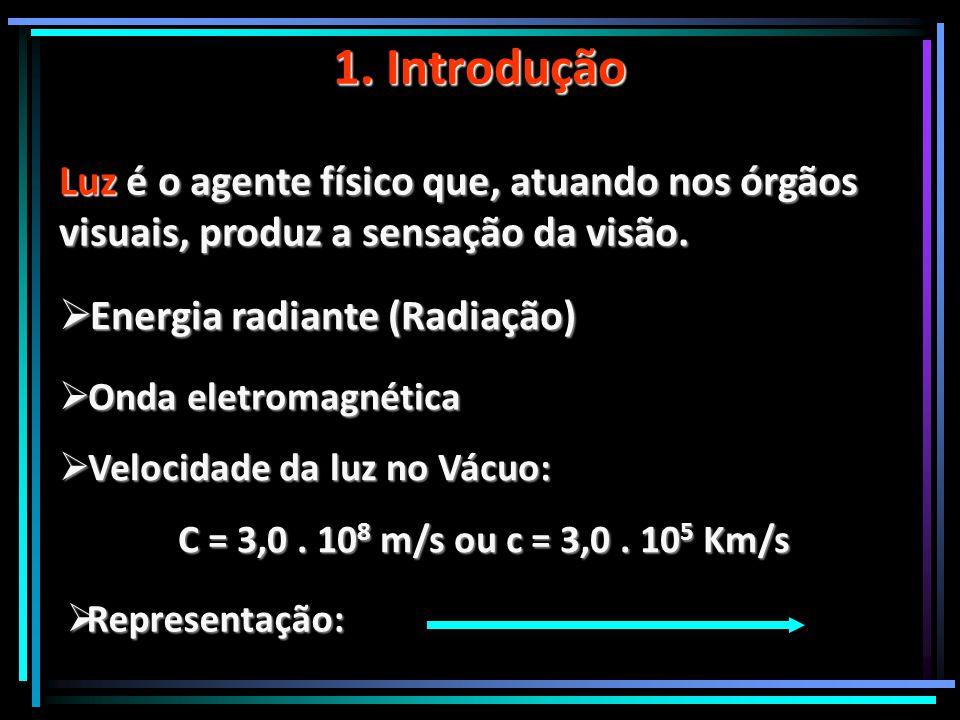 1. Introdução Luz é o agente físico que, atuando nos órgãos visuais, produz a sensação da visão. Energia radiante (Radiação)