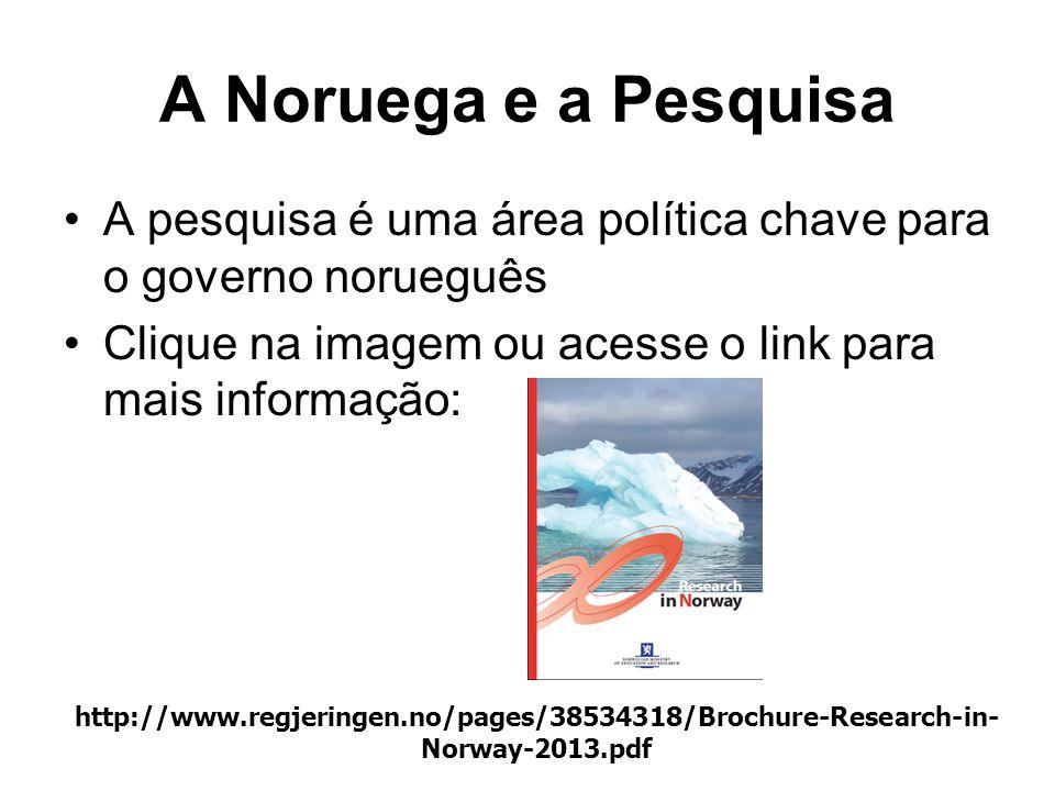 A Noruega e a Pesquisa A pesquisa é uma área política chave para o governo norueguês. Clique na imagem ou acesse o link para mais informação:
