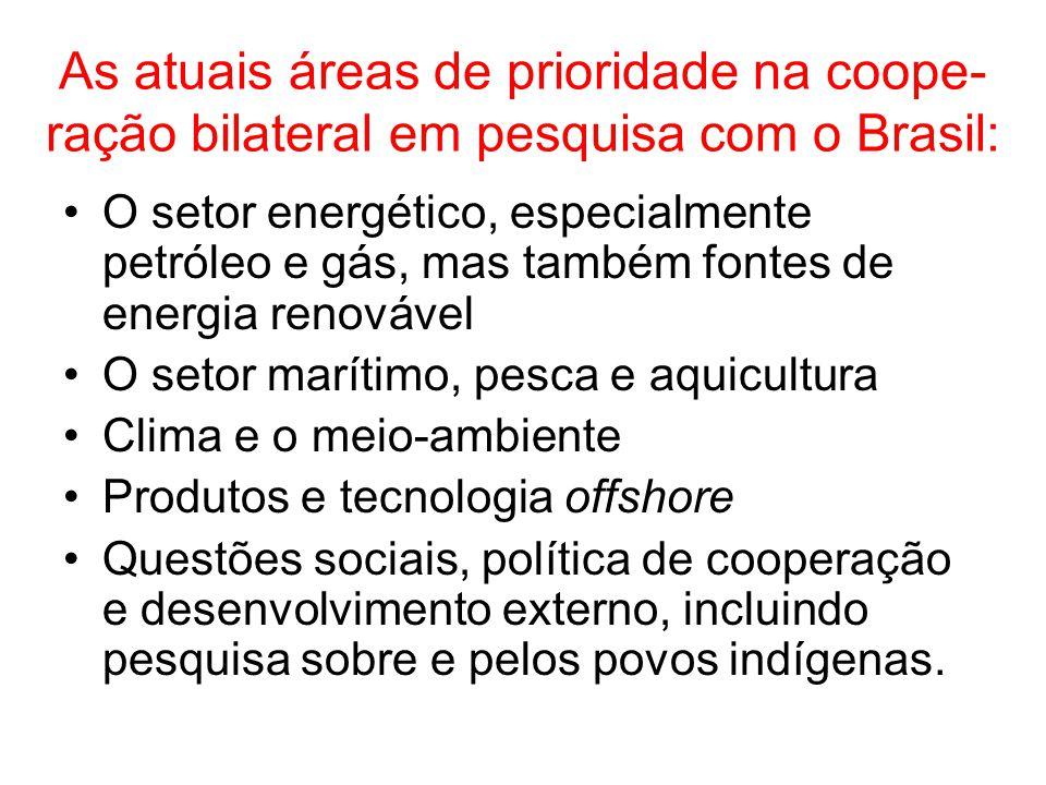 As atuais áreas de prioridade na coope- ração bilateral em pesquisa com o Brasil: