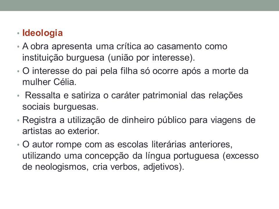 Ideologia A obra apresenta uma crítica ao casamento como instituição burguesa (união por interesse).