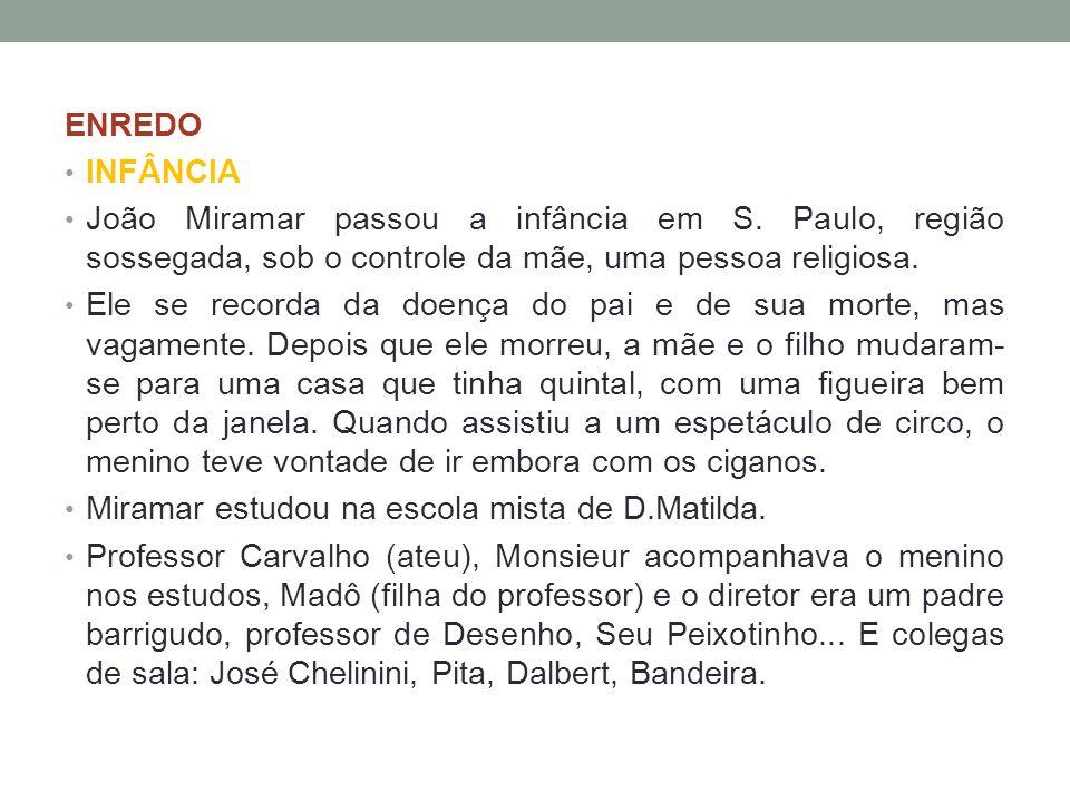 ENREDO INFÂNCIA. João Miramar passou a infância em S. Paulo, região sossegada, sob o controle da mãe, uma pessoa religiosa.