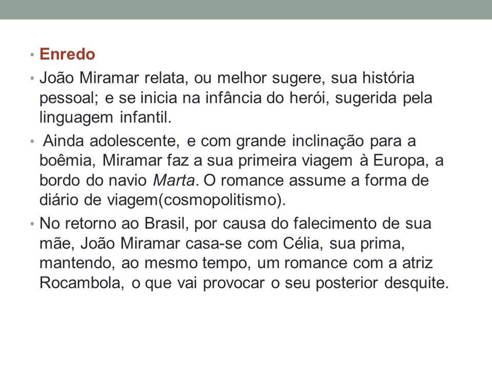 Enredo João Miramar relata, ou melhor sugere, sua história pessoal; e se inicia na infância do herói, sugerida pela linguagem infantil.