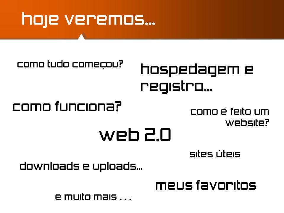 web 2.0 hoje veremos... hospedagem e registro... como funciona