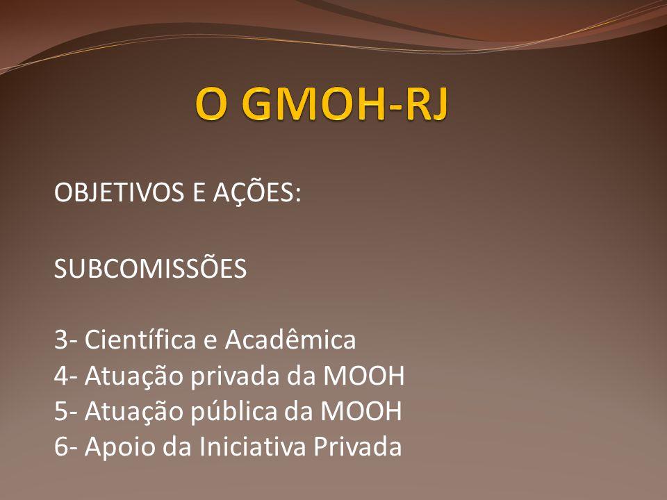 O GMOH-RJ OBJETIVOS E AÇÕES: SUBCOMISSÕES 3- Científica e Acadêmica