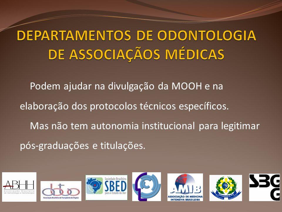 DEPARTAMENTOS DE ODONTOLOGIA DE ASSOCIAÇÃOS MÉDICAS