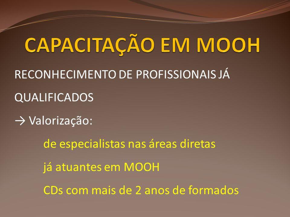 CAPACITAÇÃO EM MOOH RECONHECIMENTO DE PROFISSIONAIS JÁ QUALIFICADOS