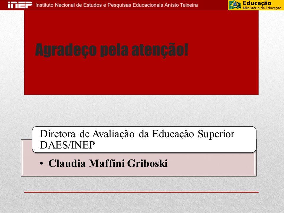 Agradeço pela atenção. Diretora de Avaliação da Educação Superior DAES/INEP.