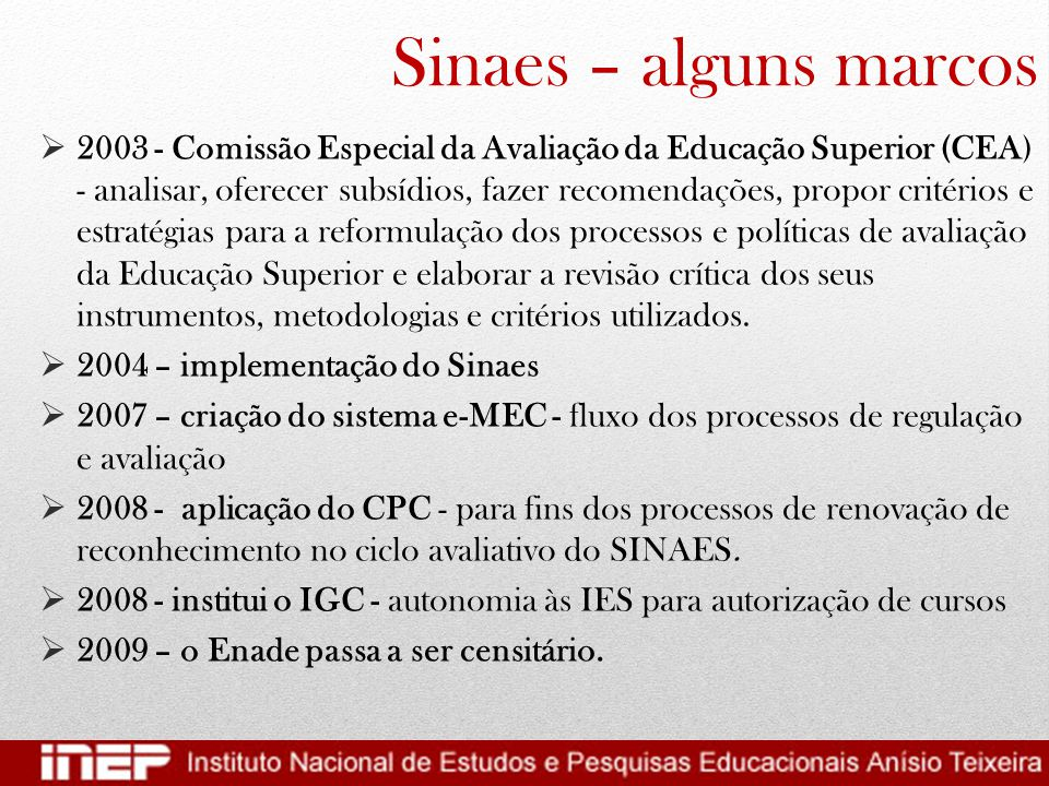 Sinaes – alguns marcos