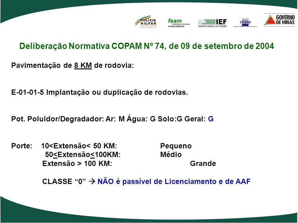 Deliberação Normativa COPAM Nº 74, de 09 de setembro de 2004