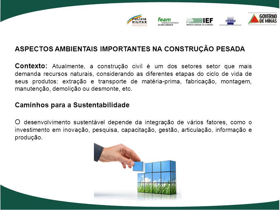 ASPECTOS AMBIENTAIS IMPORTANTES NA CONSTRUÇÃO PESADA