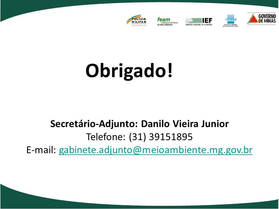 Obrigado! Secretário-Adjunto: Danilo Vieira Junior Telefone: (31) 39151895 E-mail: gabinete.adjunto@meioambiente.mg.gov.br.
