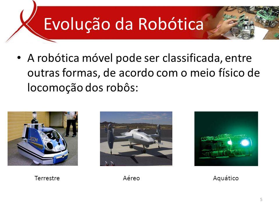 Evolução da Robótica A robótica móvel pode ser classificada, entre outras formas, de acordo com o meio físico de locomoção dos robôs: