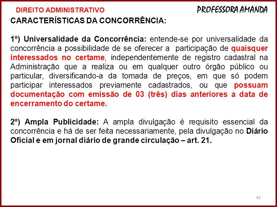 CARACTERÍSTICAS DA CONCORRÊNCIA: