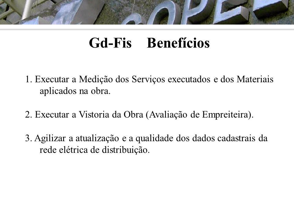 Gd-Fis Benefícios 1. Executar a Medição dos Serviços executados e dos Materiais aplicados na obra.
