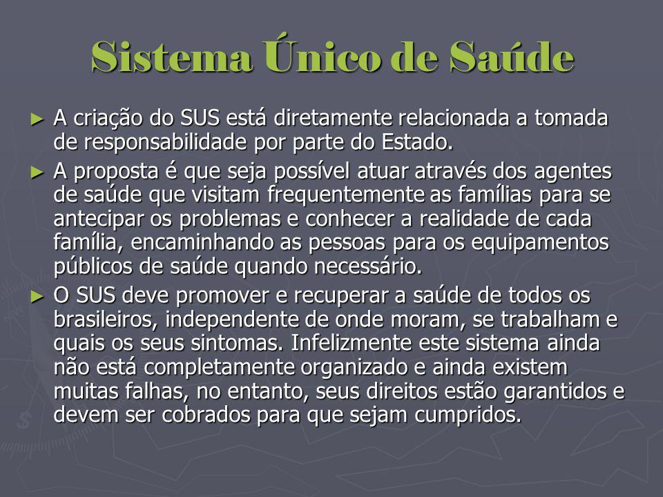 Sistema Único de Saúde A criação do SUS está diretamente relacionada a tomada de responsabilidade por parte do Estado.