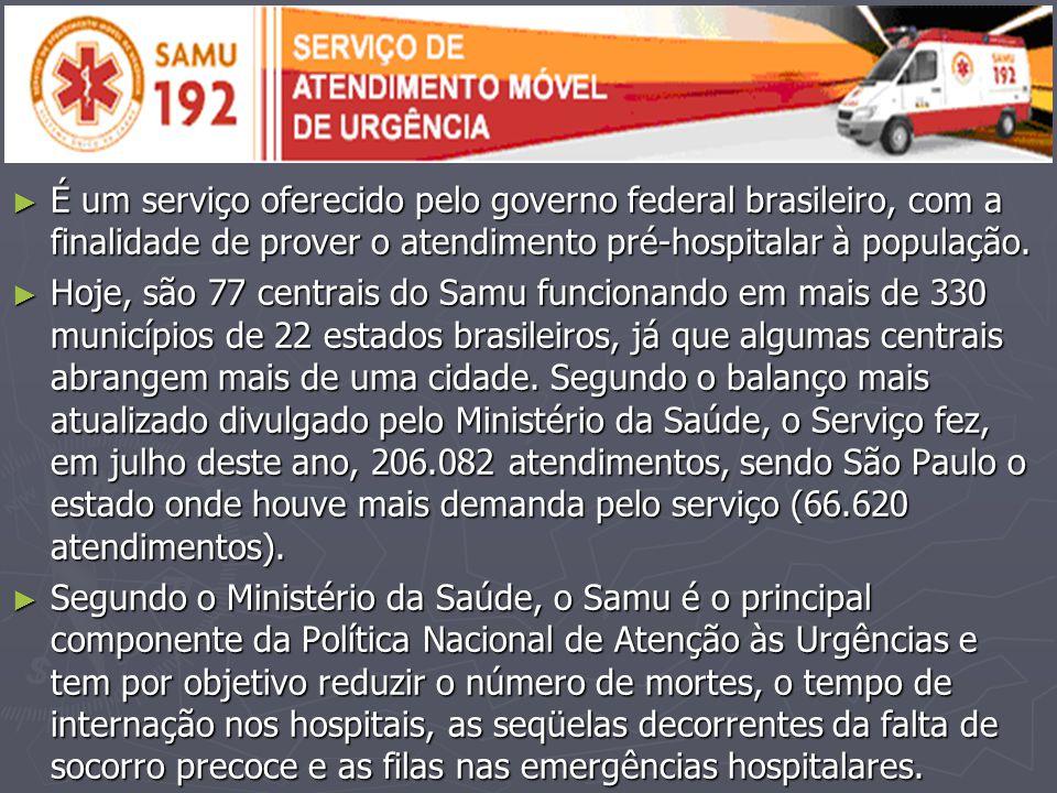 É um serviço oferecido pelo governo federal brasileiro, com a finalidade de prover o atendimento pré-hospitalar à população.