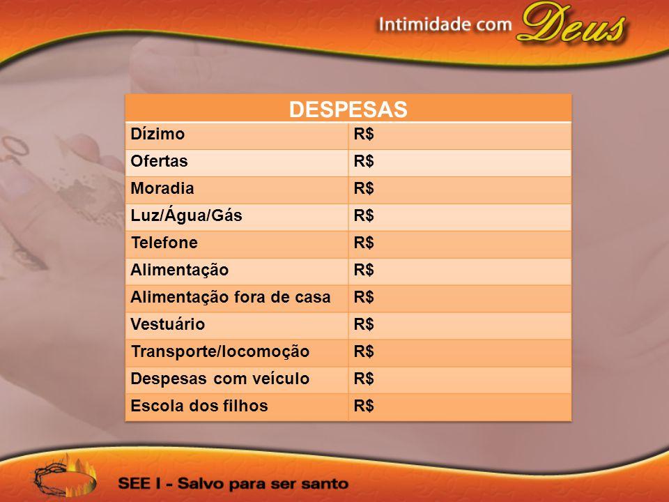 DESPESAS Dízimo R$ Ofertas Moradia Luz/Água/Gás Telefone Alimentação