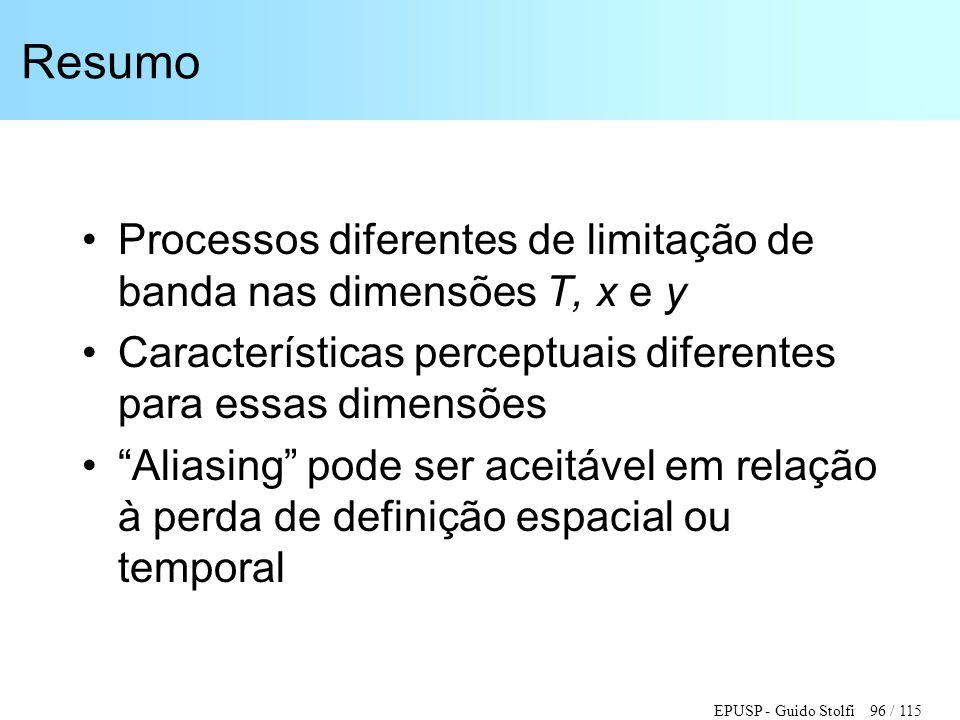Resumo Processos diferentes de limitação de banda nas dimensões T, x e y. Características perceptuais diferentes para essas dimensões.