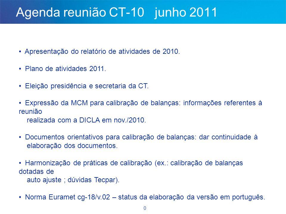 Agenda reunião CT-10 junho 2011