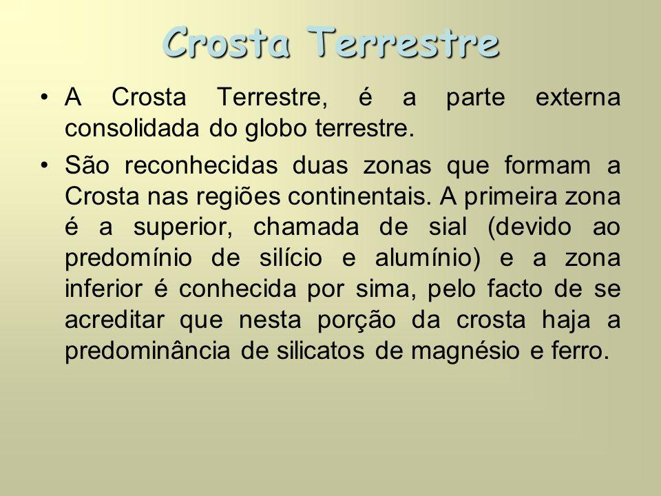 Crosta Terrestre A Crosta Terrestre, é a parte externa consolidada do globo terrestre.